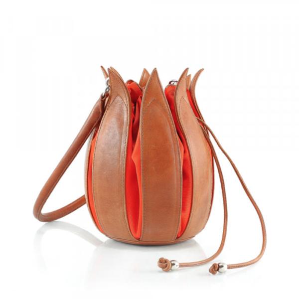 By Lin - Orange Cognac Vintage Tulip Tas