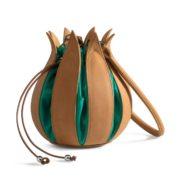By Lin - Cognac Green Vintage Tulip Tas
