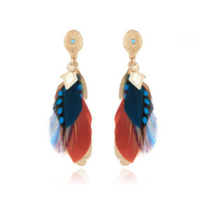 Gas Bijoux Sao Feathers Blue Brown