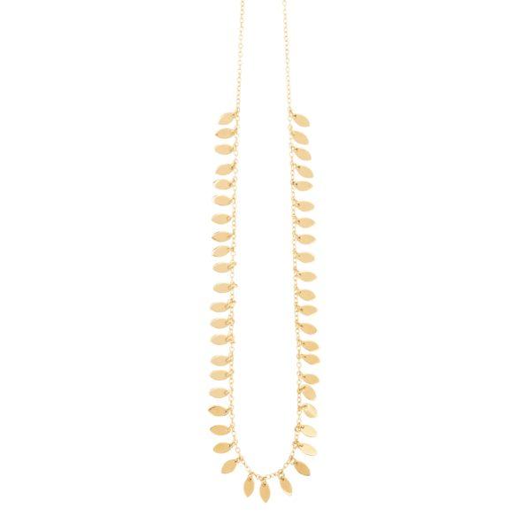 une a une leaf necklace long 01