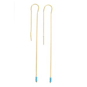 une a une - long turquoise earrings
