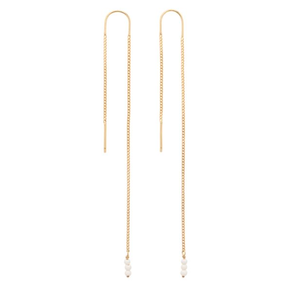 une a une - long white earrings