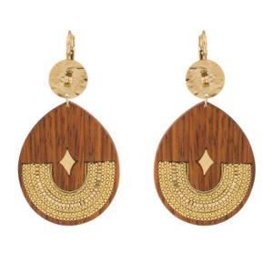 Satellite Paris Gold Earrings Wood JUN08DO