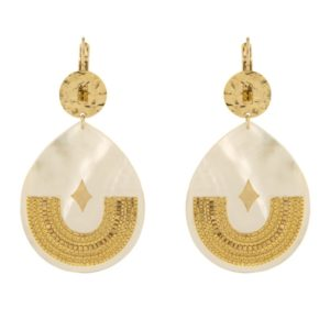 Satellite Paris Gold Earrings white JUN08DO