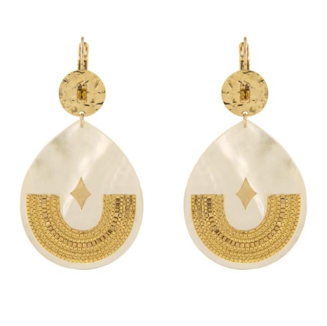 Satellite Paris Gold Earrings white JUN08DO