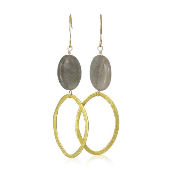 La Lacey 101 - Labradorite Earrings Oval