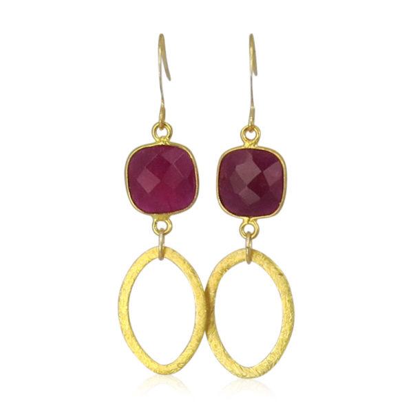 La Lacey 104 - Ruby Earrings Oval