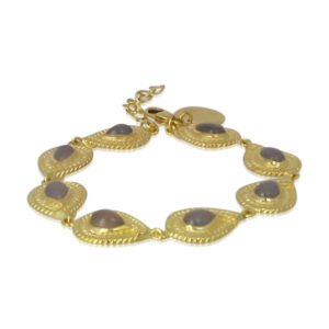 Pink Sand Jewelry - Bracelet Gold Grey Agate