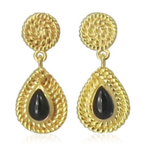 Pink Sand Jewelry - Earrings Gold Onyx Small