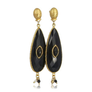 Gas Bijoux - Earrings Serti Goutte Black