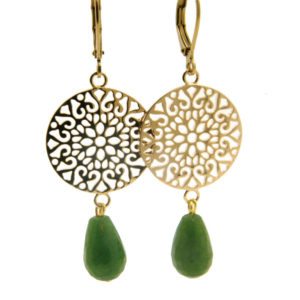 Lilly Jewelry - Earrings Gold Filligrain Green Jaspis
