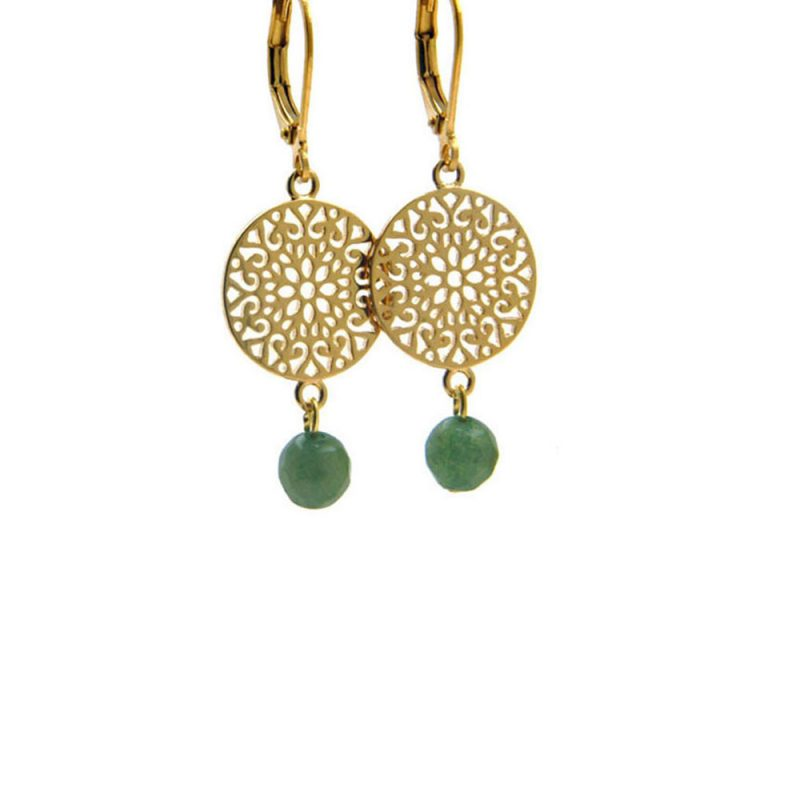 Lilly Jewelry - Earrings Gold Jade 03
