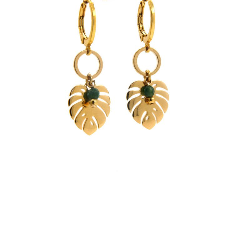 Lilly Jewelry - Earrings Gold Jade 04