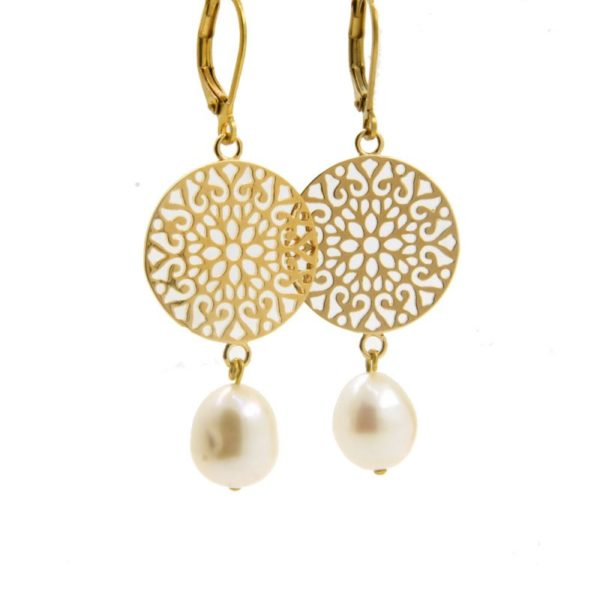 Lilly Jewelry - Earrings Gold Pearl 03