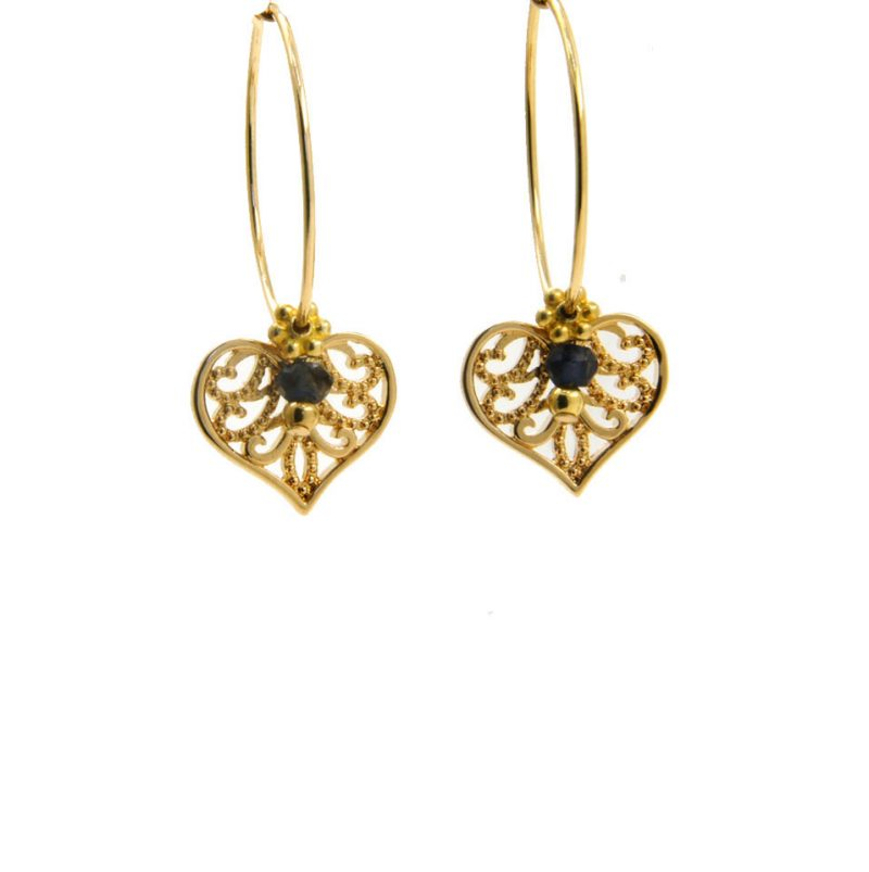 Lilly Jewelry - Earrings Gold Sapphire