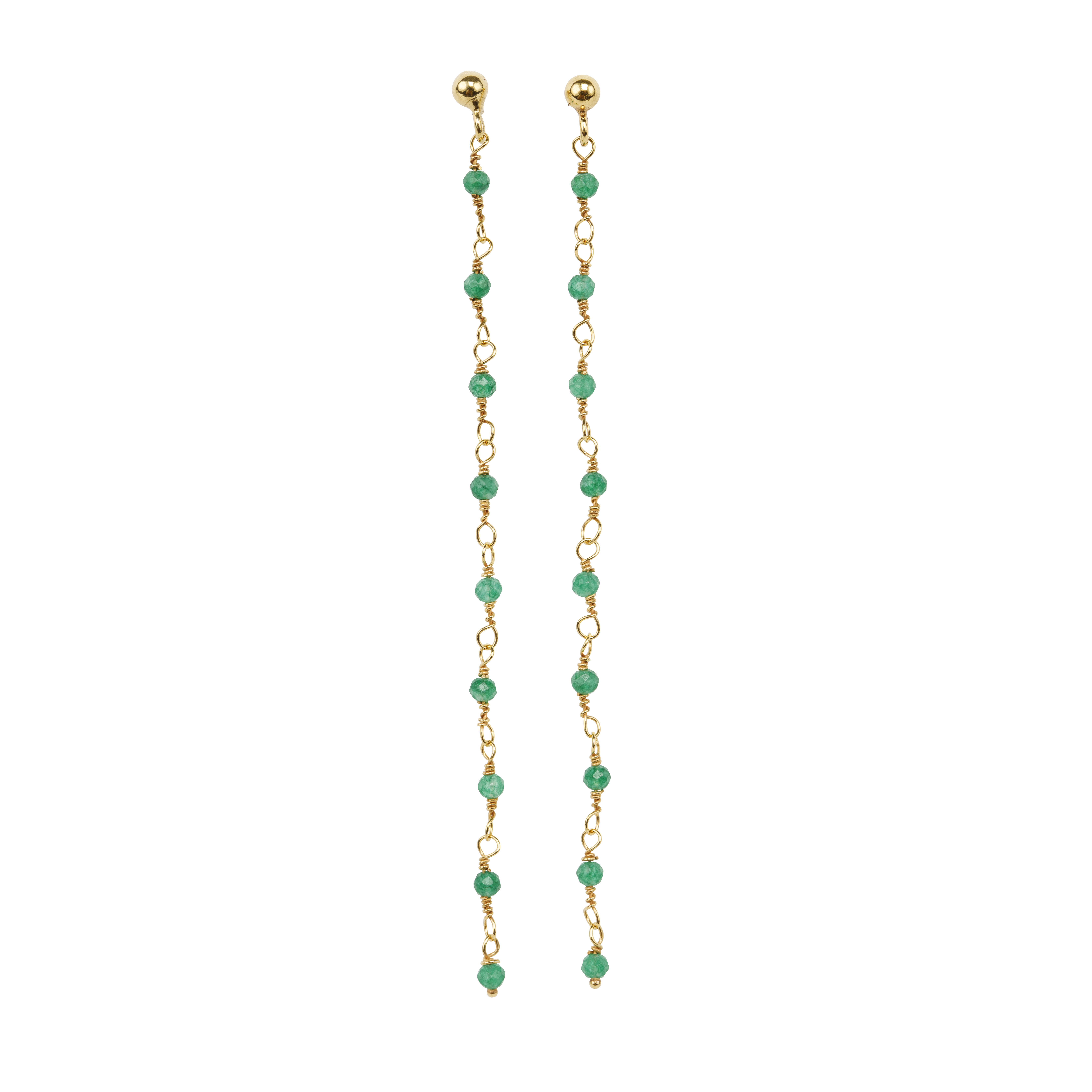 Une a Une - Earrings Inde Long Emerald BLEM
