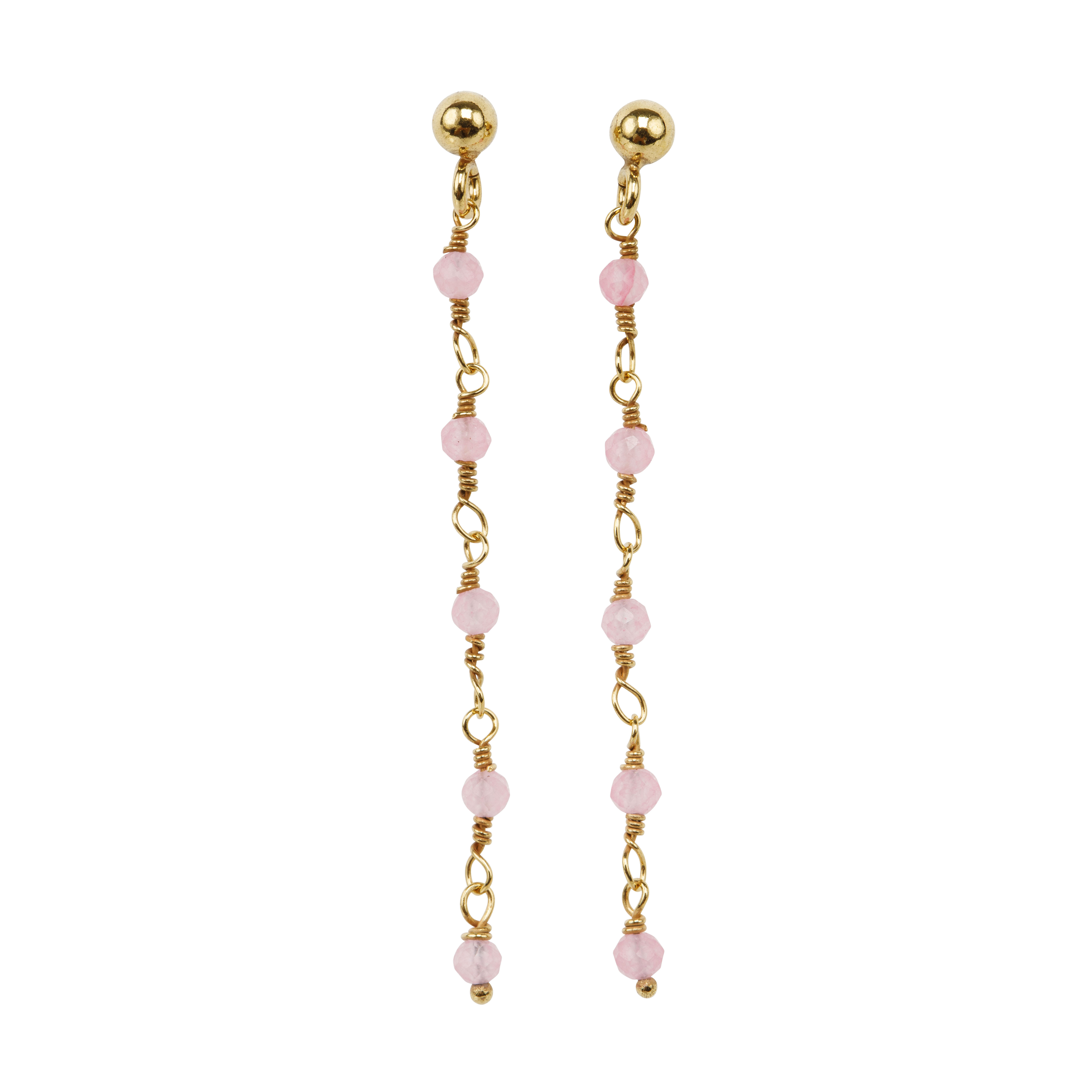 Une a Une - Earrings Inde Rose Quartz BOCDR