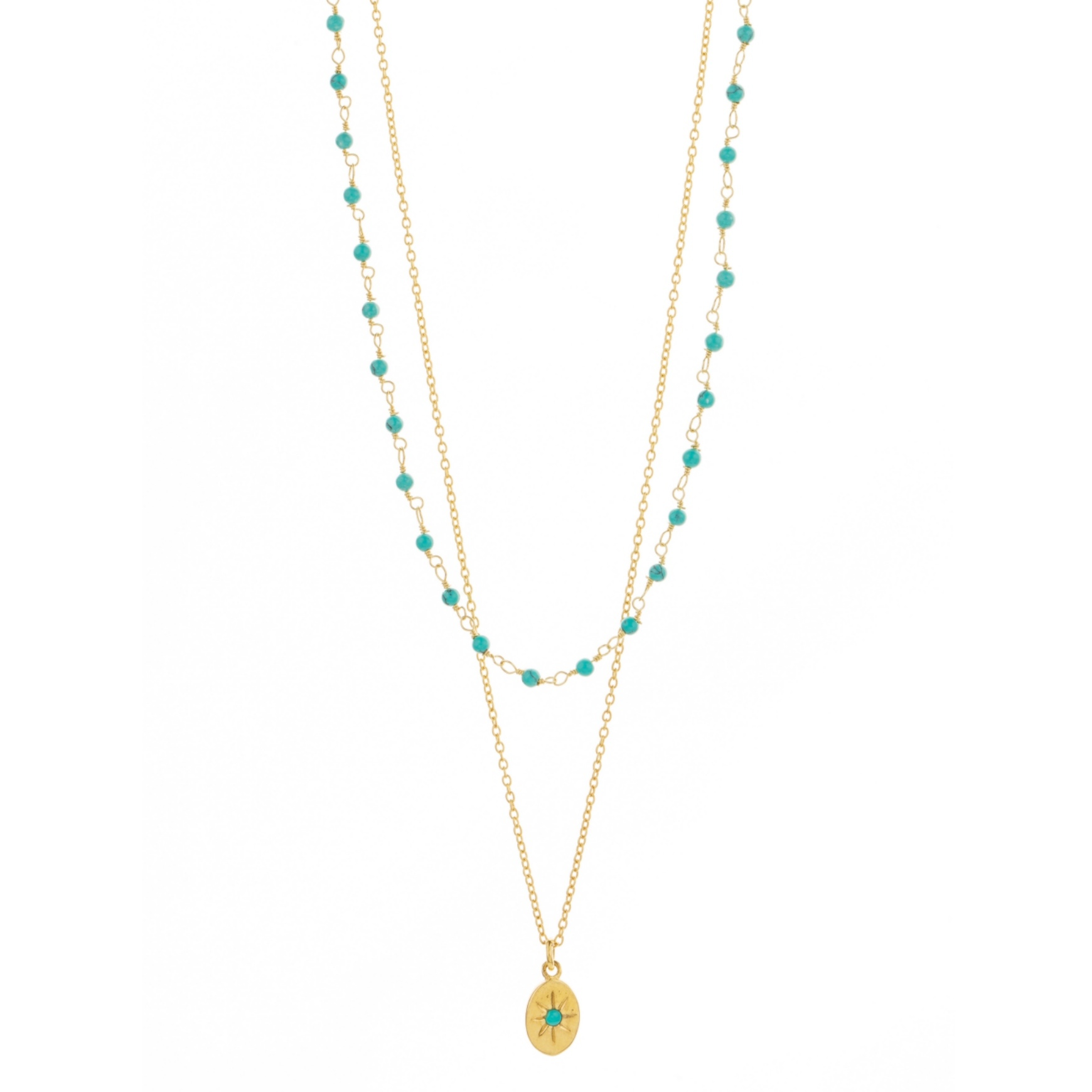 Une a Une - Necklace Inde Double Turquoise CDMTU
