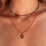 Une a Une - Necklace Jaipur Coral model