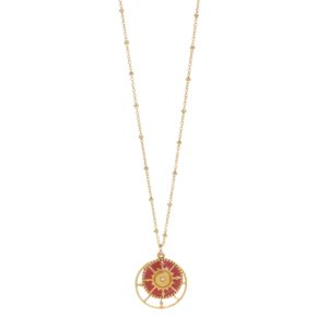 Une a Une - Necklace Long Compass Coral SRVBT