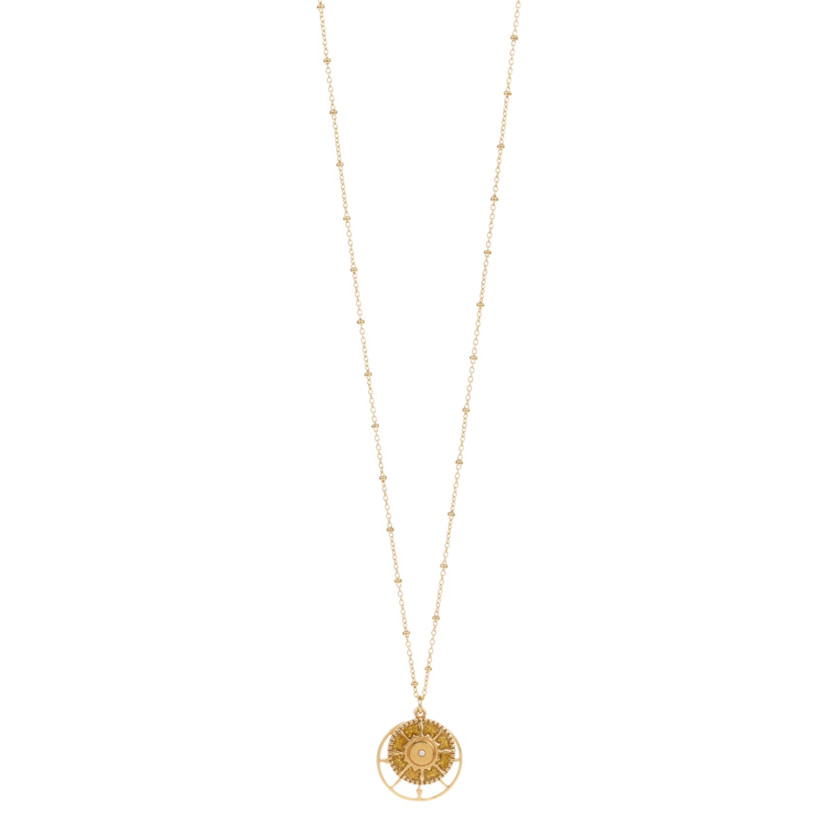 Une a Une - Necklace Long Compass Ochre SRVDT