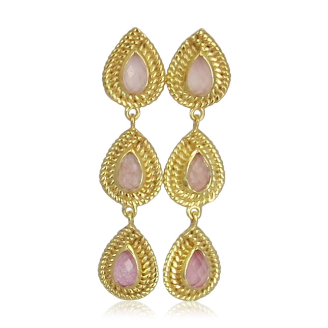 Pink Sand Jewelry - Earrings Gold 3 Drops Light Pink