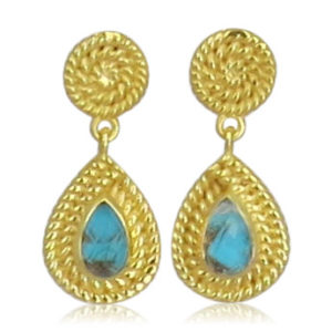 Pink Sand Jewelry - Earrings Gold Drops Blue