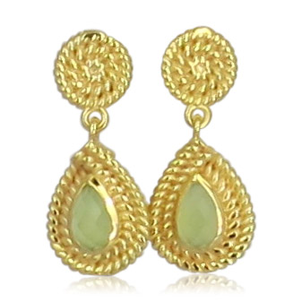 Pink Sand Jewelry - Earrings Gold Drops Light Green