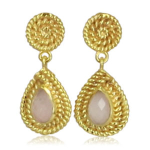 Pink Sand Jewelry - Earrings Gold Drops Light Pink