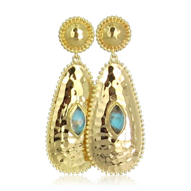 Pink Sand Jewelry - Earrings Gold Long Drops Blue
