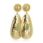 Pink Sand Jewelry - Earrings Gold Long Drops Light Green