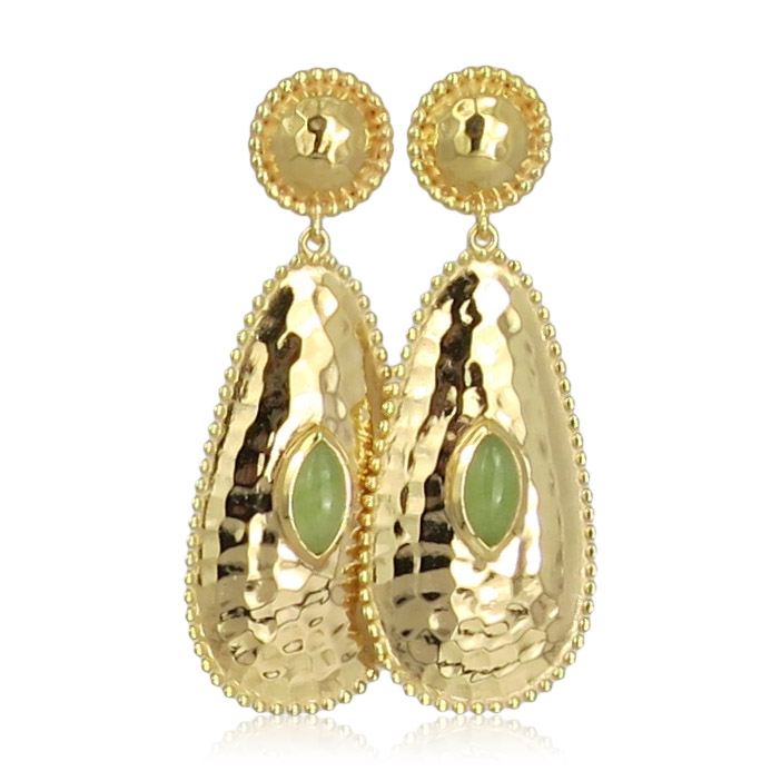 Pink Sand Jewelry - Earrings Gold Long Drops Light Green