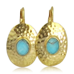Pink Sand Jewelry - Earrings Gold Oval Blue