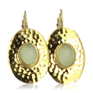 Pink Sand Jewelry - Earrings Gold Oval Light Green