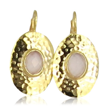 Pink Sand Jewelry - Earrings Gold Oval Light Pink