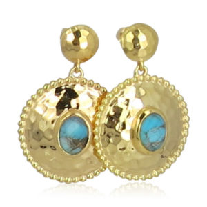 Pink Sand Jewelry - Earrings Gold Round Blue