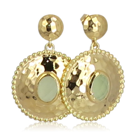 Pink Sand Jewelry - Earrings Gold Round Light Green