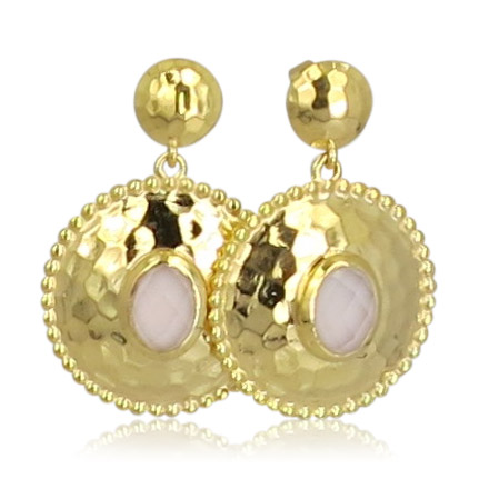 Pink Sand Jewelry - Earrings Gold Round Light Pink