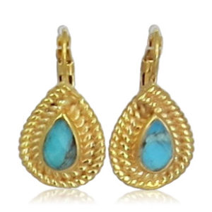 Pink Sand Jewelry - Earrings Gold Small Drops Blue