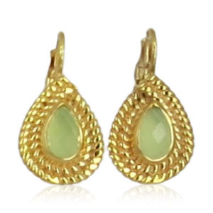 Pink Sand Jewelry - Earrings Gold Small Drops Light Green
