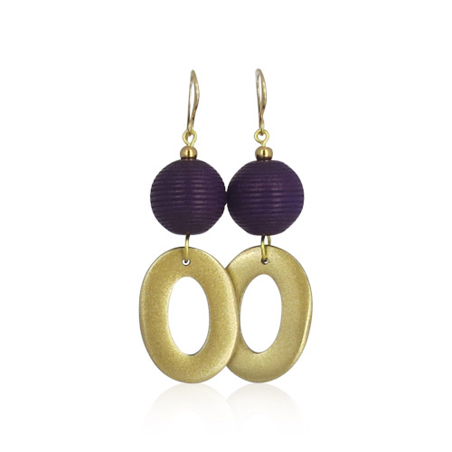 Lara Design - Aubergine Gold Earrings