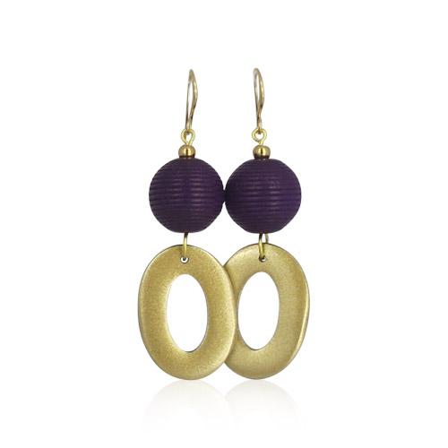 Lara Design - Aubergine Gold Earrings