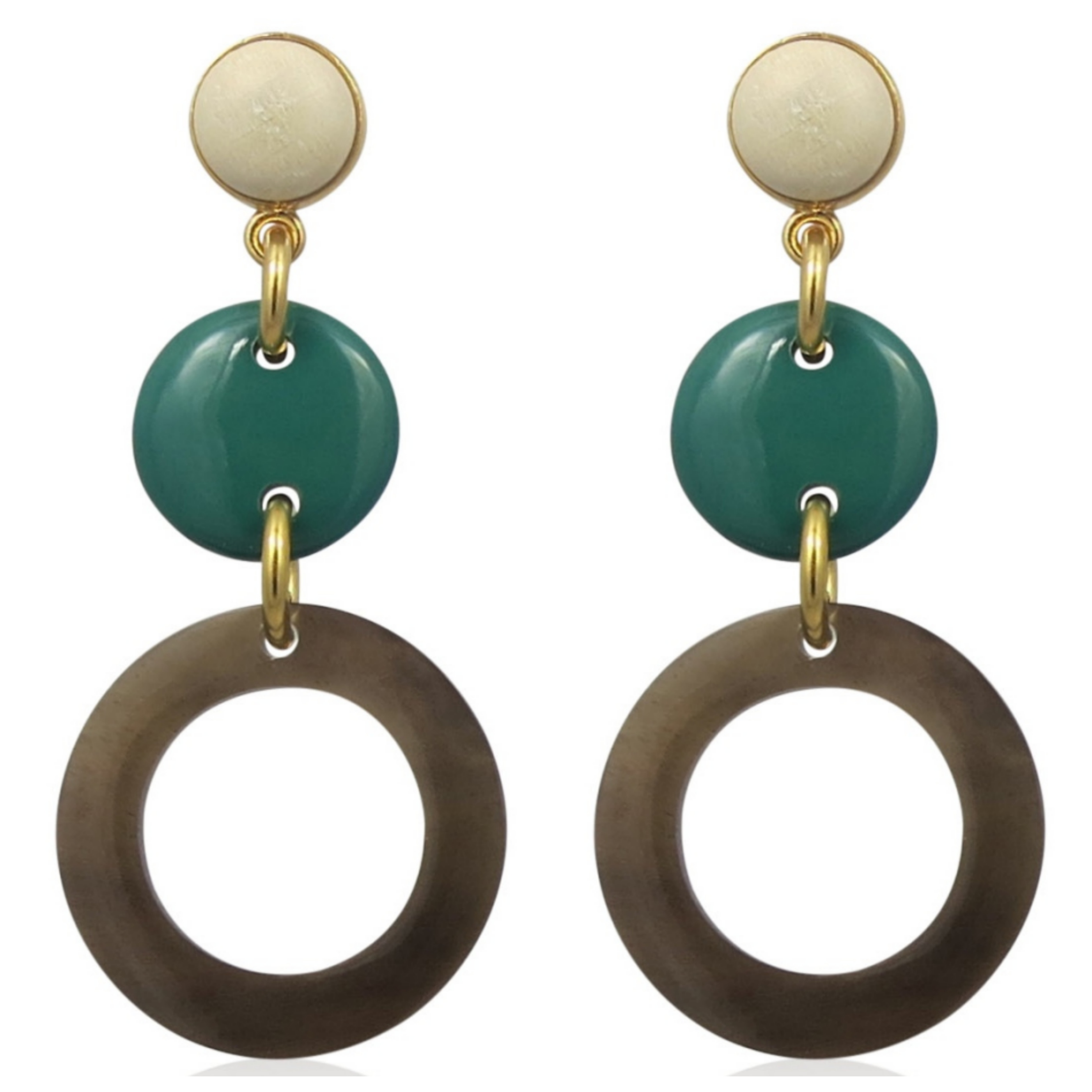 Lara Design - Earrings Green White A