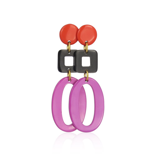 Lara Design - Orange Brown Fuchsia Earrings