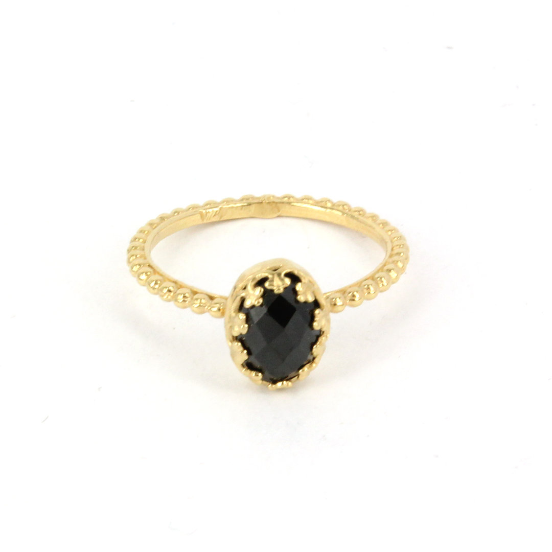 Gem Kingdom - Black Onyx Ring Gold R15a04