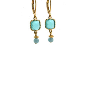 Lilly Jewelry - Earrings Gold Aqua