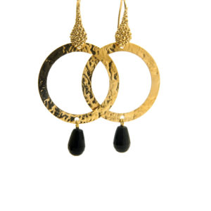 Lilly Jewelry - Earrings Gold Circles Onyx