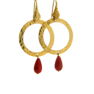 Lilly Jewelry - Earrings Gold Circles Red