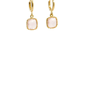 Lilly Jewelry - Earrings Square Rosequartz