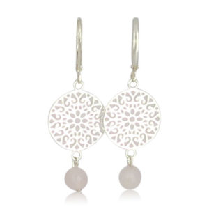 Lilly Jewelry - Silver Earrings Rosequartz